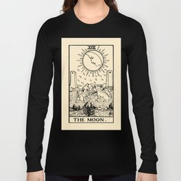 XVIII. The Moon Tarot Card on Parchment Long Sleeve T-shirt