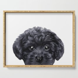 Black toy poodle Dog illustration original painting print Serving Tray