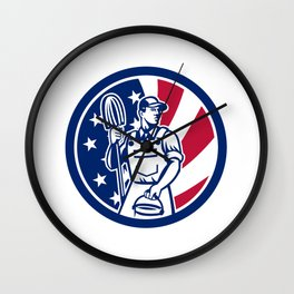 American Professional Cleaner USA Flag Icon Wall Clock
