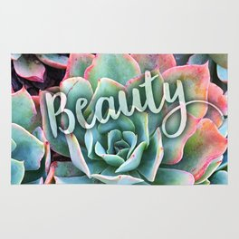 """""""Beauty"""" quote, cactus close-up photo Rug"""