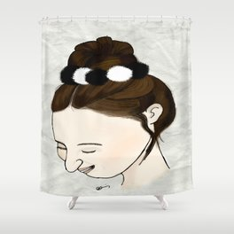 Brunette hair bun Shower Curtain