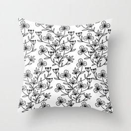 Black and white pattern of painted flowers Throw Pillow