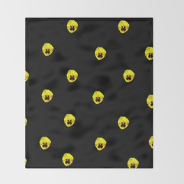YELLOW  PANSY FLOWERS SPRINKLED ON MIDNIGHT BLACK Throw Blanket