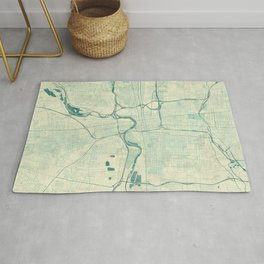 Columbus Map Blue Vintage Rug