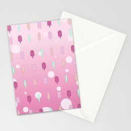 Kawaii Popsicles Pink Stationery Cards