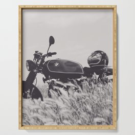 Scrambler photography, motorcycle lovers, motorbike, café racer, cafe racer, man cave gift Serving Tray