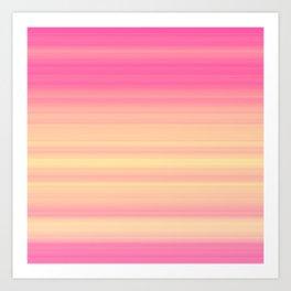 Pink Yellow Gradient Stripes Art Print