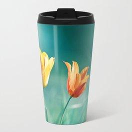 Teal Orange Nature Photography, Turquoise Yellow Tulips Photo, Aqua Teal Green Flower Art Print Travel Mug