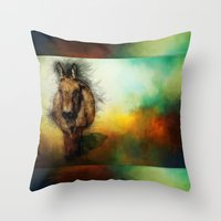 donkey Throw Pillows featuring Donkey by Ginkelmier