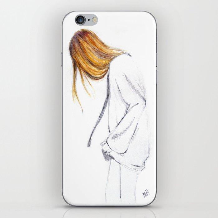 Blonde hair girl iPhone Skin