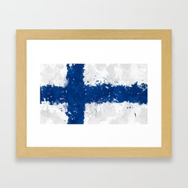 Finland Flag - Messy Action Painting Framed Art Print