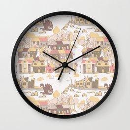 Cashel of the Kings Hand Drawn Art Wall Clock