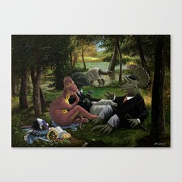 The Luncheon on the Grass with dinosaurs Canvas Print