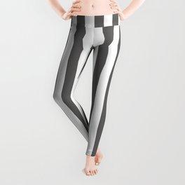Pantone Pewter Gray & White Stripes, Wide Vertical Line Pattern Leggings