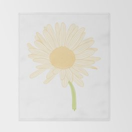 White and Yellow Daisy Flower Illustration Throw Blanket