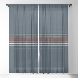 Thin Lines in Retro Color Sheer Curtain