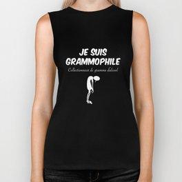 je suis grammophile collectionneur de gramme dalcool paris t-shirts Biker Tank