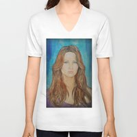 jennifer lawrence V-neck T-shirts featuring Jennifer Lawrence by Jenn