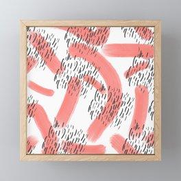 Abstract modern living coral black watercolor brushstrokes Framed Mini Art Print