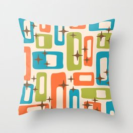 Retro Mid Century Modern Abstract Pattern 921 Orange Chartreuse Turquoise Throw Pillow