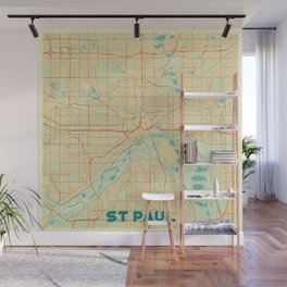 St Paul Map Retro Wall Mural