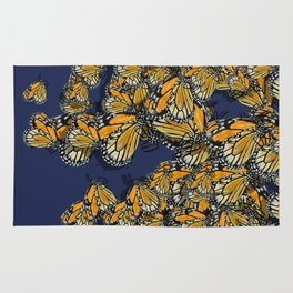 Butterfly Frenzy Spring Navy Rug