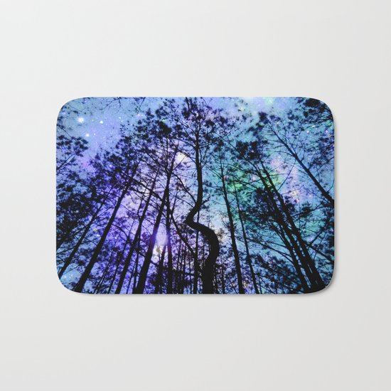 Black Trees Aqua Lavender Space Bath Mat