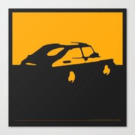 Saab 900 classic, Yellow on Black Canvas Print