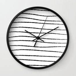 Hand Drawn Horizontal Stripes Wall Clock