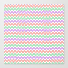Coral Peach Pink and Lavender and Mint Green Chevron Canvas Print