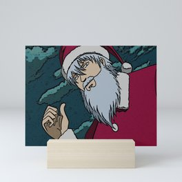 Sanata Gintoki Gintama Christmas Eve Santa Claus anime otaku yorozuya Xmas husbando December25 joyful Jesus holly gift present yule jingle bells Mini Art Print