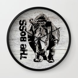 Rhino The Boss with wood background Wall Clock