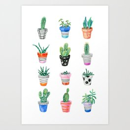 drawing cacti Art Print