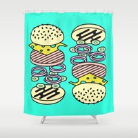 burger Shower Curtains featuring Burger by Jan Luzar