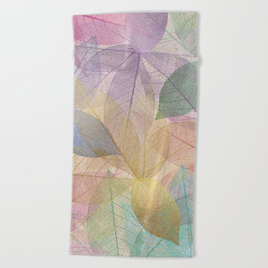 Colored Leaf Pattern Beach Towel