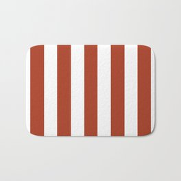 Chinese red - solid color - white vertical lines pattern Bath Mat