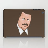 ron swanson iPad Cases featuring Ron Swanson by CheekyMonkeyArt