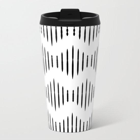 Black and White Pattern II Metal Travel Mug
