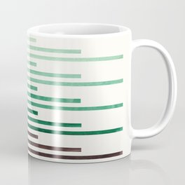 Marine Green Minimalist Abstract Mid Century Modern Staggered Thin Stripes Watercolor Painting Coffee Mug