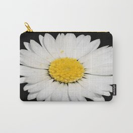 Top View of a White Daisy Isolated on Black Carry-All Pouch