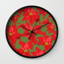 Poinsettia Love (Red) Wall Clock