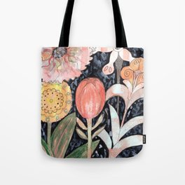 Mixed Flowers with Tulip on Black Tote Bag