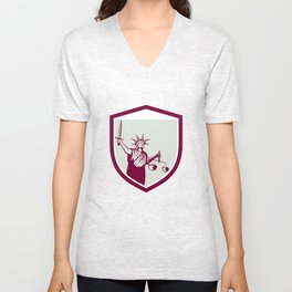Statue of Liberty Holding Sword Scales Justice Shield Unisex V-Neck