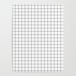 Black and White Thin Grid Graph Poster