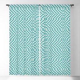 Teal Turquoise Aqua and Alabaster White Hypnotic Angled Stripe Pattern - Aquarium SW 6767 Blackout Curtain