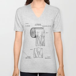 Toilet Paper Patent - Bathroom Art - Black And White Unisex V-Neck