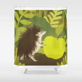 Cute Hedgehog with his Apple Shower Curtain