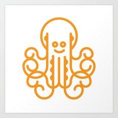 Happy Octopus in Orange Art Print