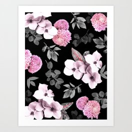Night bloom - pink blush Art Print