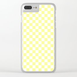 Small Checkered - White and Pastel Yellow Clear iPhone Case